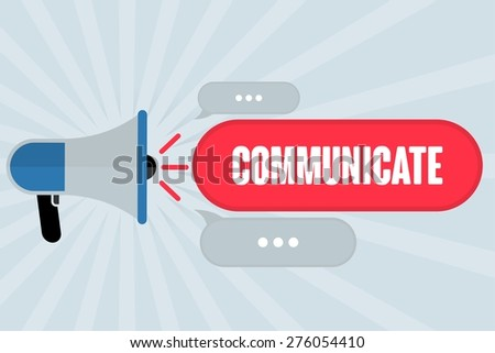 COMMUNICATE word out of megaphone with grey background - stock photo