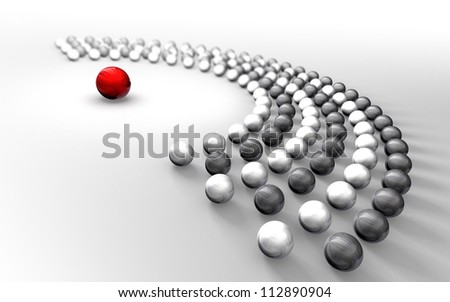 Communication abstract black and white chrome balls around one red sphere - stock photo