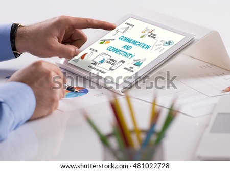COMMUNICATION AND CONNECTIVITY Concept on Tablet PC Screen