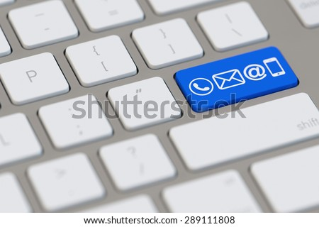 Communication and contact symbols on blue key computer keyboard (3D Rendering)