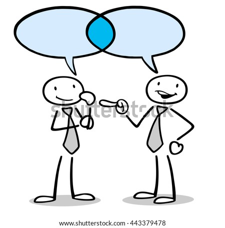 Communication and dialogue between two cartoon business people
