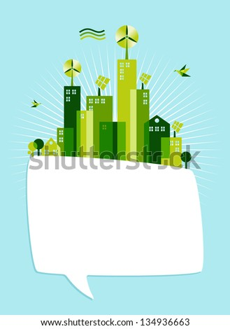 Communication and environment conservation concept illustration. Green city with social media speech bubble on blue sky background.