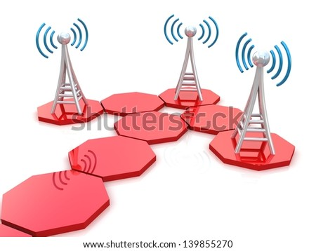 Communication antenna in 3D - stock photo
