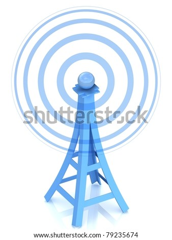 Communication antenna tower on white background - stock photo