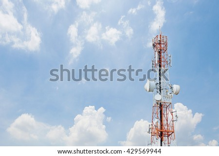 communication antenna tower with blue sky,Telecoms technology  - stock photo