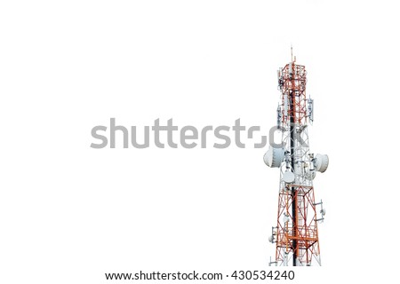 Communication antenna tower with white background,Telecoms technology  - stock photo