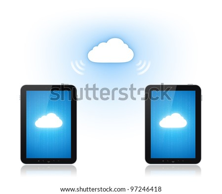 Communication between two mobile phone via cloud-computing connection. Conceptual illustration. Isolated on white.