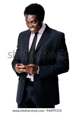 communication cell phone man sends a text message with his smartphone - stock photo