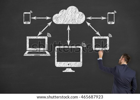 Communication Cloud Computing Concept on Blackboard Background