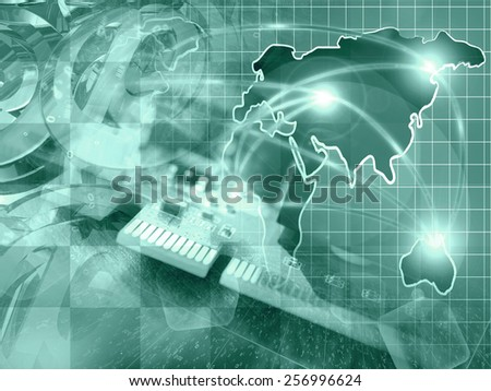 Communication collage with map, digits and mail signs, green toned. - stock photo