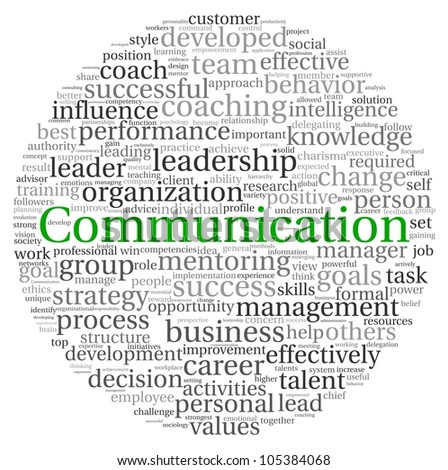 Communication concept in word tag cloud on white background