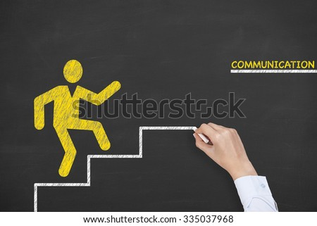 Communication Concept Stairs on Chalkboard - stock photo