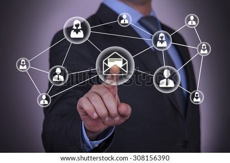 Communication Concept Touching on Touch Screen - stock photo