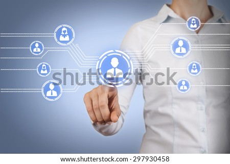 Communication Connection Dots on Touch Screen - stock photo
