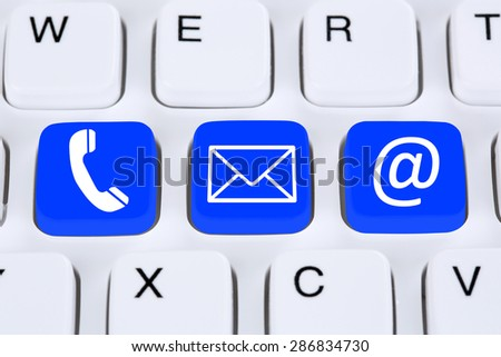 Communication contact by telephone, mail or e-mail online on the internet