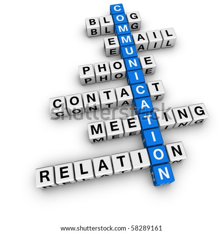 communication crossword (blue-white cubes crossword series) - stock photo