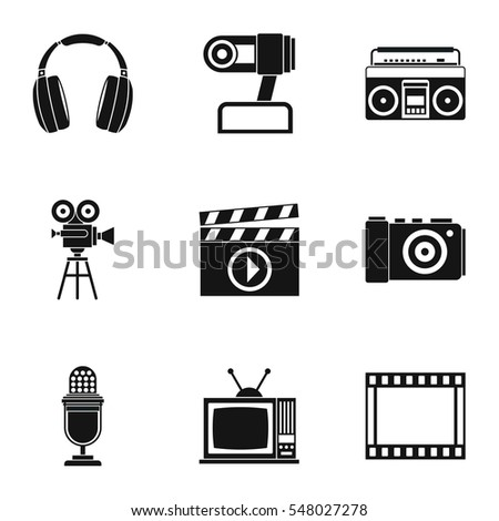 Communication device icons set. Simple illustration of 9 communication device  icons for web