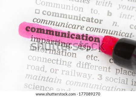 Communication  Dictionary Definition single word with soft focus - stock photo