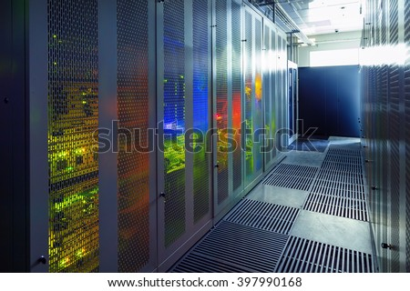 communication equipment room with lighting in the data center - stock photo