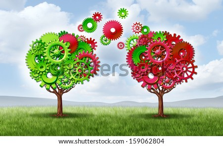Communication exchange partnership and teamwork joining forces symbol as two trees made with gears and cogs as a business metaphor and concept of network connections with technology transfer. - stock photo