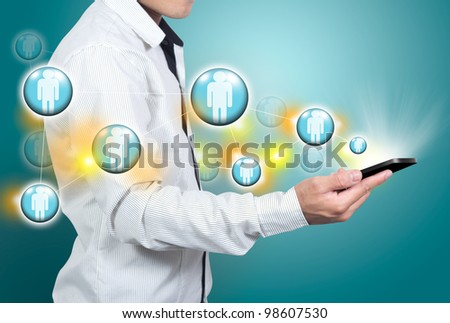 Communication from the mobile phone. - stock photo