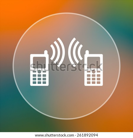 Communication icon. Internet button on colored  background.  - stock photo