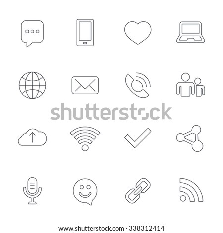 Communication icons. Smartphone, laptop and speech bubble symbols. Wi-fi and Rss. Online love dating, mail and globe thin outline signs. Outline line icons on white background.