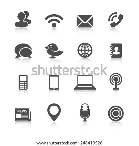 Communication Icons with Reflection - stock photo