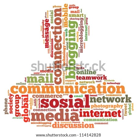 communication info-text graphics and arrangement concept on white background (word cloud)