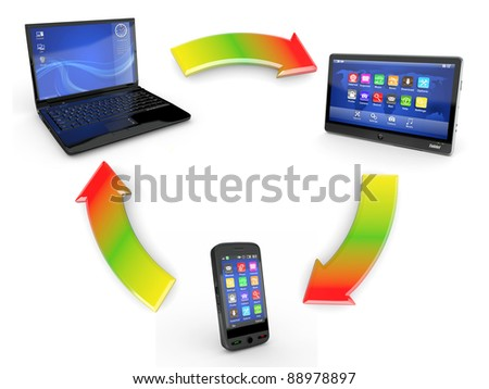 Communication. Laptop, tablet pc and cellphone. 3d - stock photo