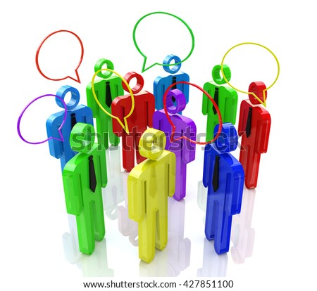 communication of people in the design of the information associated with communication. 3d illustration - stock photo
