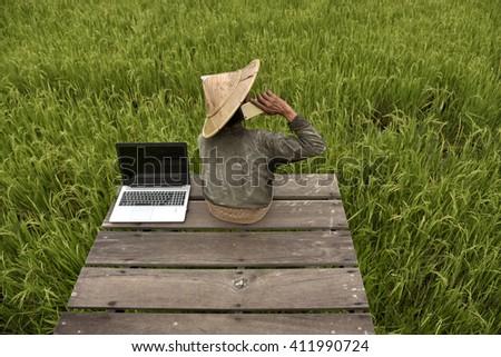 Communication of Thailand Farmer - stock photo