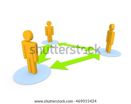 Communication of three peoples. 3d illustration.