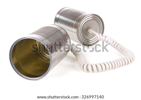 communication options with tin can over white background