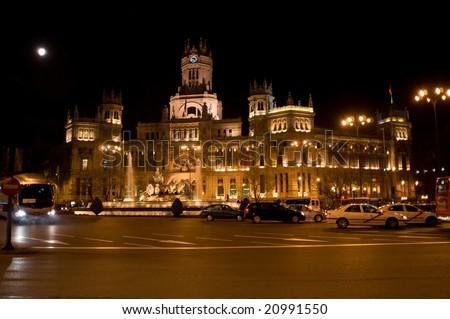 Communication palace in Madrid  at night (plaza cibeles, gran via) - stock photo