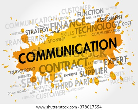 Communication related items words cloud, business concept - stock photo
