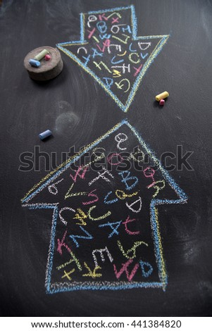 Communication report represented with two opposing arrows enclosing letters - stock photo