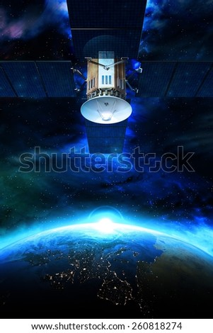 Communication Satellite  Above the Earth Conceptual Illustration. Communication Technology Concept. - stock photo