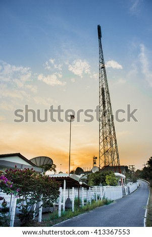 Communication station at twilight time.