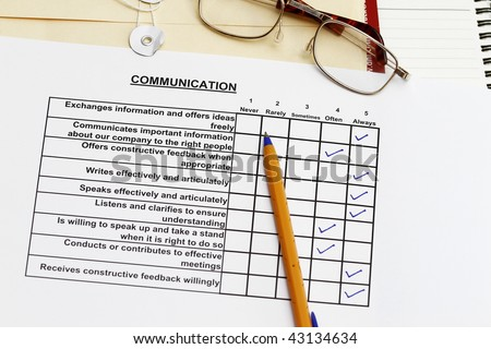 Communication survey - many uses in the company HR advancement program. - stock photo