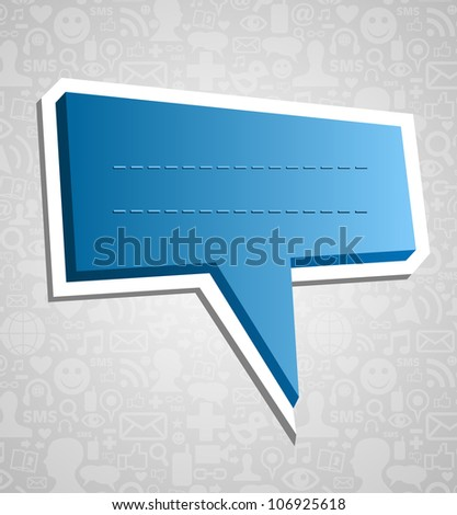 Communication talk bubble over social media icons texture background. - stock photo