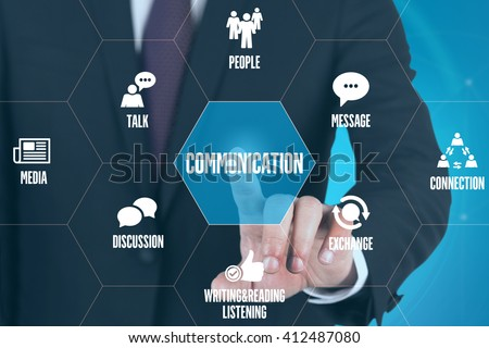 COMMUNICATION TECHNOLOGY COMMUNICATION TOUCHSCREEN FUTURISTIC CONCEPT - stock photo