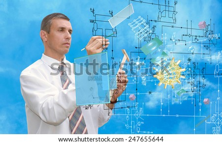 Communication technology.Designing connection - stock photo