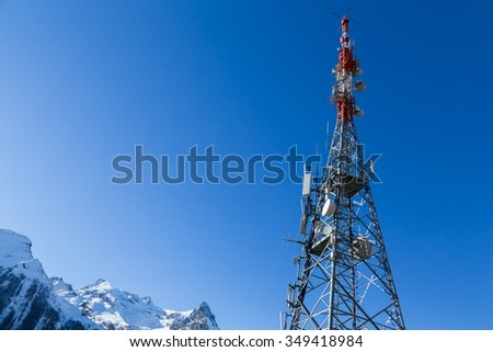 communication technology on the top of the mountain - stock photo