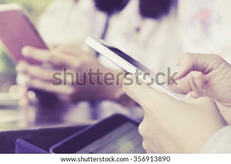 communication technology,People Using a Smart Phone background - stock photo