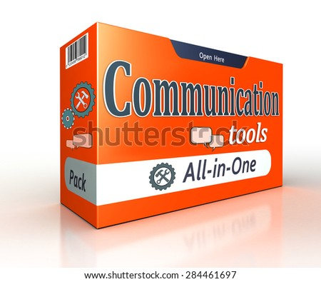communication tools orange pack concept on white background. clipping path included