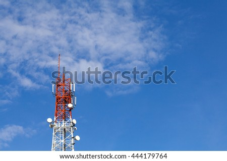 Communication tower and blue sky with space