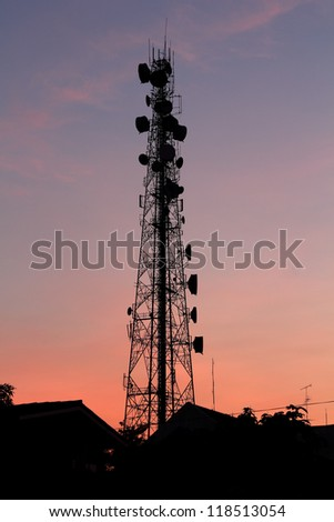 Communication  tower at Sunset background