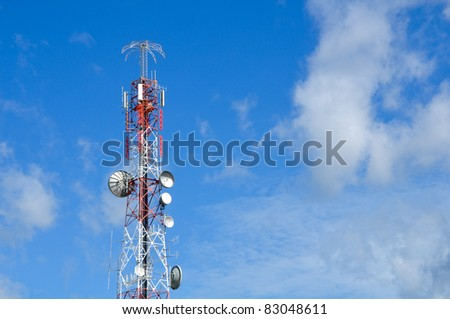 Communication tower over a sky - stock photo
