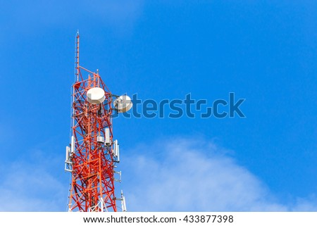 Communication tower using send signal for cellular network. Bright blue sky and white clouds background.